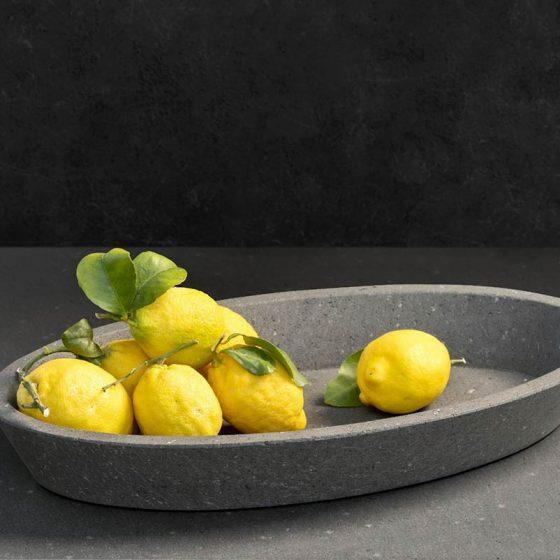Porta frutta in marmo grigio